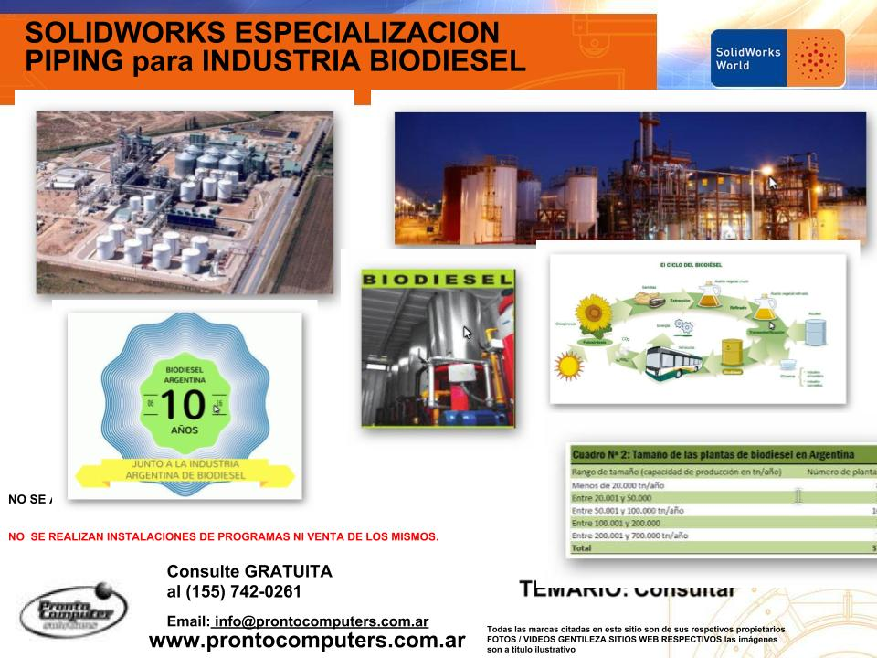 CURSOS DE SOLIDWORKS CATIA PIPING ROUTING TUBERIAS BIODIESEL